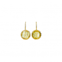Facets 14k Gold Lemon Quartz Earrings