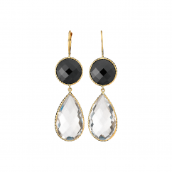 Facets 14k Gold Crystal and Black Onyx Earrings
