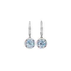 18k Gold Lisette Blue Topaz and Diamond Earrings