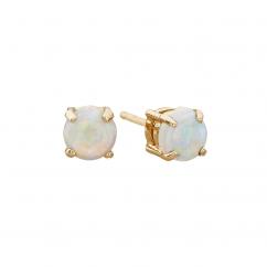 14k 5mm Opal Birthstone October Stud Earrings