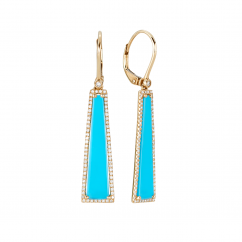 Facets 14k Gold and Turquoise Earrings