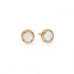 1970's 18k Gold and Mother of Pearl Earrings