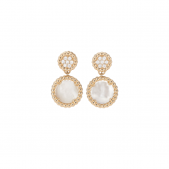1970's 18k Gold Mother of Pearl and Diamond Earrings