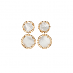 1970's 18k Gold and Mother of Pearl Drop Earrings