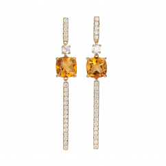 18k Yellow Gold and Citrine Earrings