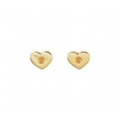 14k Yellow Gold and Citrine Heart Studs