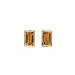 14k Yellow Gold and Baguette Citrine Stud Earrings