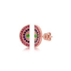 14k Rose Gold and Rainbow Gemstone Stud Earrings