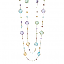 "Facets 14k Gold and Gemstone 36"" Necklace"