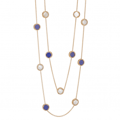 1970's 18k Gold 36 Inch Lapis and Mother of Pearl Necklace