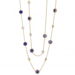 1970's 18k Gold 36 Inch Lapis Necklace