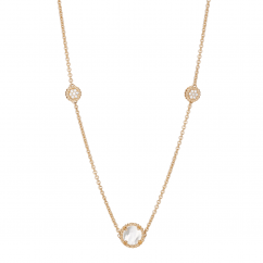 1970's 18k Gold and Mother of Pearl Station Necklace