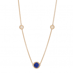1970's 18k Gold and Lapis Station Necklace