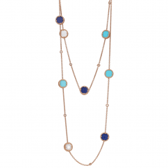 1970's 18k Gold Lapis and Turquoise Necklace
