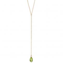 Calypso 14k Gold and Peridot Y Drop Necklace