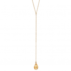 Calypso 14k Gold and Citrine Y Drop Necklace