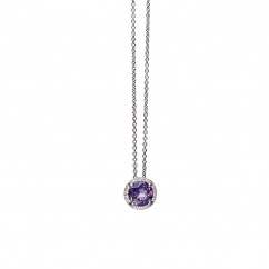 Lisette 18k Gold Amethyst and Diamond Pendant