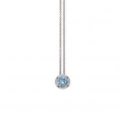Lisette 18k White Gold Blue Topaz and Diamond Pendant
