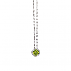 Lisette 18k Gold Peridot and Diamond Pendant