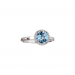 Lisette 18k Gold Blue Topaz and Diamond Ring