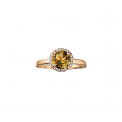 Lisette 18k Gold Smoky Quartz and Diamond Ring