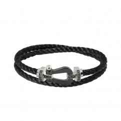 Fred Black Steel Cable Bracelet With Ceramic Buckle, Exclusively at Hamilton Jewelers