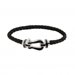 Fred Black Cable Bracelet With 18k White Gold Buckle, Exclusively at Hamilton Jewelers