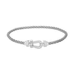 Fred Steel Cable Bracelet With Diamond Buckle, Exclusively at Hamilton Jewelers