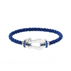 Fred Navy Cord Bracelet With 18k Gold and Sapphire Buckle, Exclusively at Hamilton Jewelers