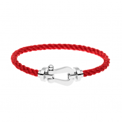 FRED Red Cable Bracelet with 18k White Gold Buckle,Exclusively at Hamilton Jewelers