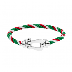 FRED White/Red/Green Cable Bracelet with 18k Buckle,Exclusively at Hamilton Jewelers
