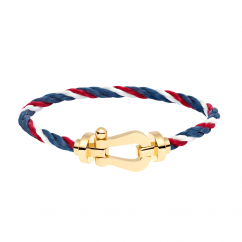 FRED White/Red/Blue Cable Bracelet with 18k Gold Buckle, Exclusively at Hamilton Jewelers