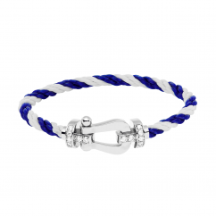 FRED White/Blue Cable Bracelet with Half Pave Diamond Gold Buckle,Exclusively at Hamilton Jewelers