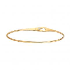Dinh Van 18k Yellow Gold and Diamond Serrure Jonc Bracelet