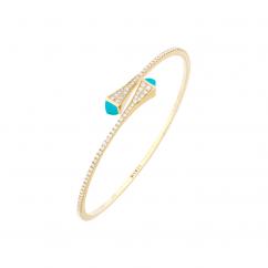 Marli Cleo 18k Gold and Turquoise Bangle