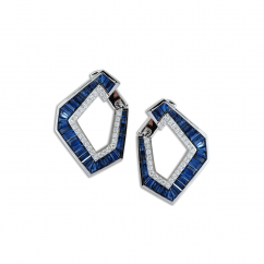 Kavant and Sharart Origami 18k White Gold and Sapphire Earrings