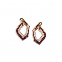 Kavant and Sharart Origami 18k Rose Gold and Ruby Earrings