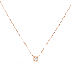Dinh Van 18k Rose Gold and Diamond Le Cube Pendant