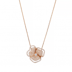 AS29 18k Pink Gold and Diamond Flower Pendant