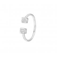 Dinh Van 18k White Gold and Diamond Le Cube Ring