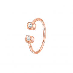 Dinh Van 18k Rose Gold and Diamond Le Cube Ring