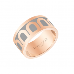 L'Arc de DAVIDOR Ring MM, 18k Rose Gold with Anthracite Lacquer