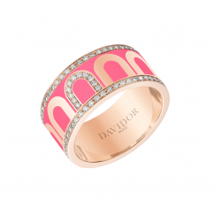 L'Arc de DAVIDOR Ring GM, 18k Rose Gold with Flamant Lacquer