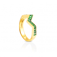 Kavant and Sharart Origami 18k Yellow Gold and Tsavorite Ring