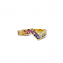 Kavant and Sharart Origami 18k Yellow Gold Rainbow Sapph Ring