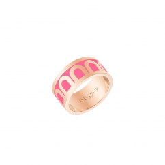 DAVIDOR L'Arc Ring GM, 18k Yellow Gold with Flamant Lacquered Ceramic