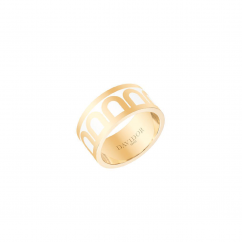 DAVIDOR L'Arc Ring GM, 18k Yellow Gold with Neige Lacquered Ceramic