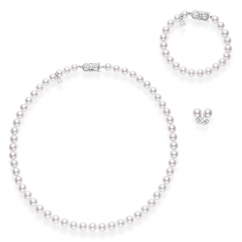 Mikimoto 18k Gold and Akoya Pearl Necklace, Bracelet and Stud Set