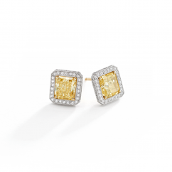 Private Reserve Platinum and 18k Gold Fancy Yellow Diamond Earrings