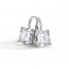 Private Reserve Platinum and Asscher Diamond Earrings